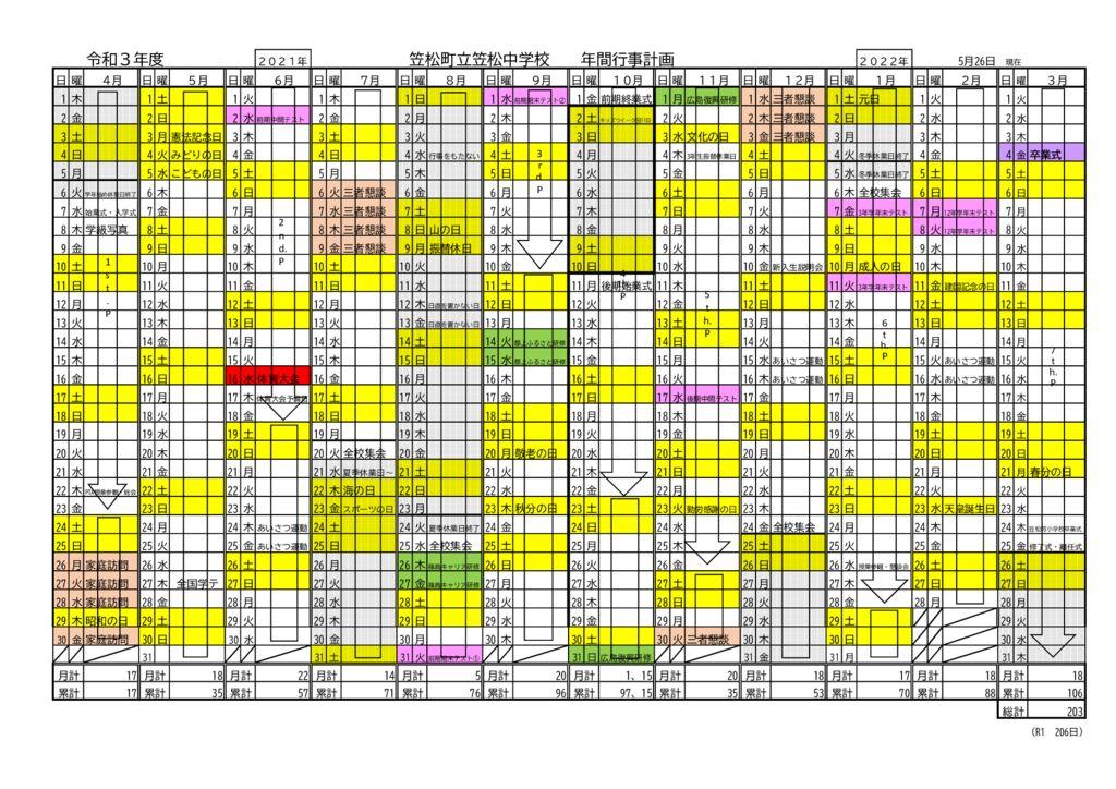 令和3年度年間カレンダーのサムネイル