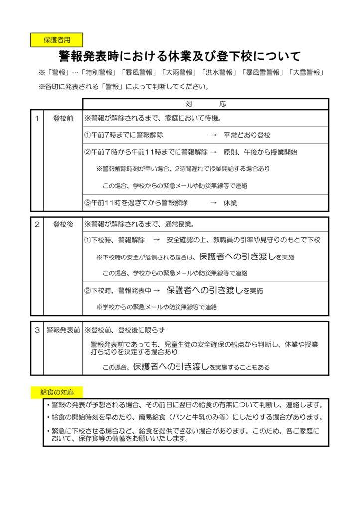 18 【修正版】警報発表時における休業及び登下校について(保護者用).xlsのサムネイル