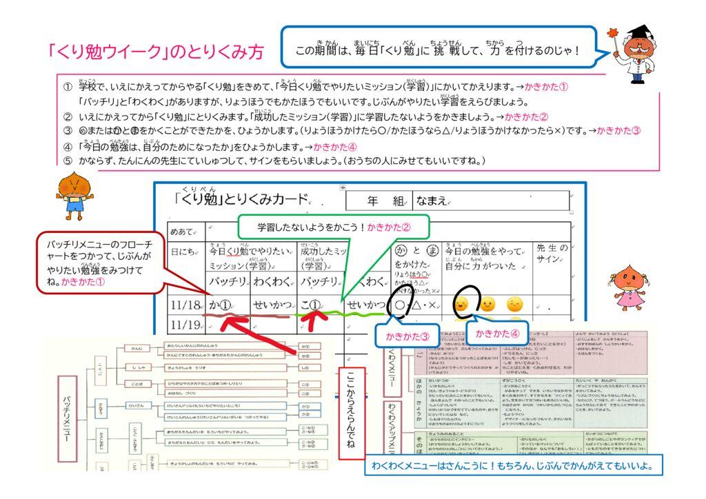 くり勉の取り組み方(低学年用) 保護者向け資料のサムネイル